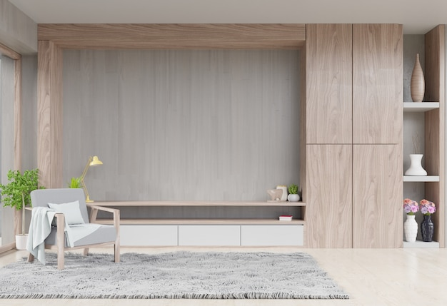 Kastentelevisie in moderne woonkamer met decoratie en leunstoel op houten cementmuur