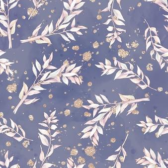 Katoen bloemen naadloos patroon en takken. aquarel illustratie