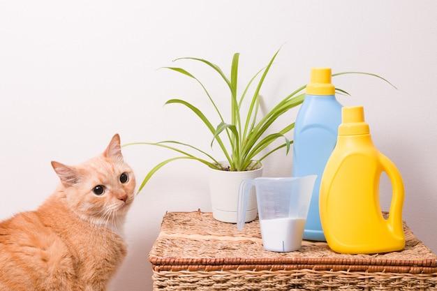 Kattenwaspoeder wasgel en wasverzachter in flesjes zonder etiketten op mand