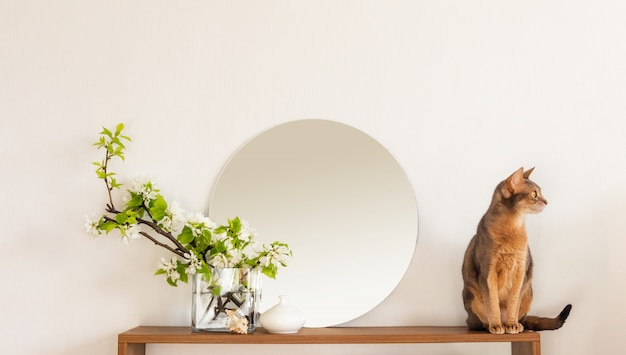 Kattenwit woonkamer minimalistisch interieurplankmodel. woondecoratie decoratie. gezellige ronde binnenspiegel bloemen