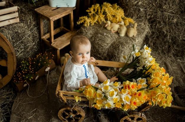 Kaukasisch babymeisje in een linnen witte jurk met borduurwerk zit in een houten kar in paasversieringen