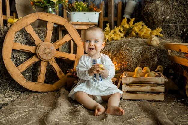 Kaukasisch babymeisje in een witte linnen jurk zit onder de pasen-zone met eendjes. viering van het heldere pasen