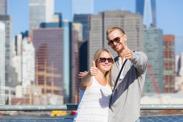 Kaukasisch paar dat new york bezoekt