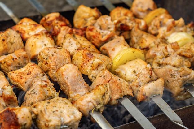 Kaukasische shish kebab op spiesjes