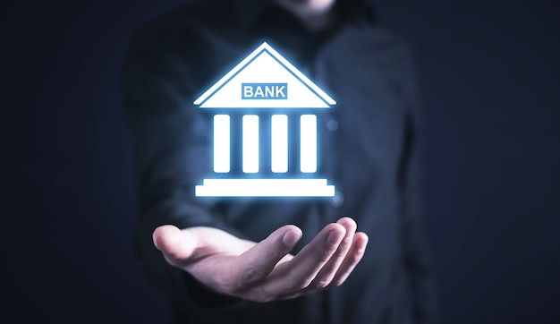 Kaukasische zakenman bedrijf bank pictogram. bedrijf. financiën