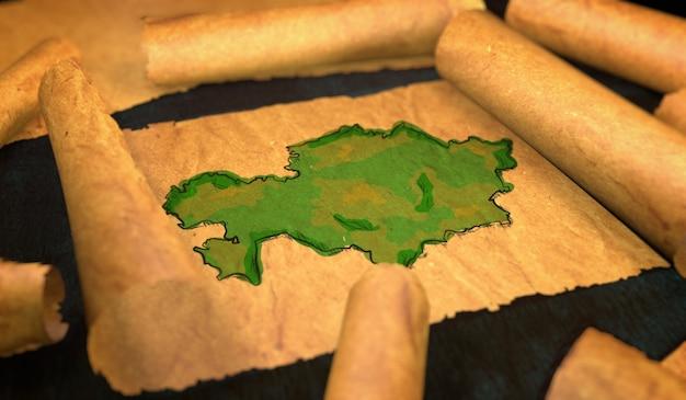 Kazachstan kaart schilderen uitvouwen oude document scroll 3d