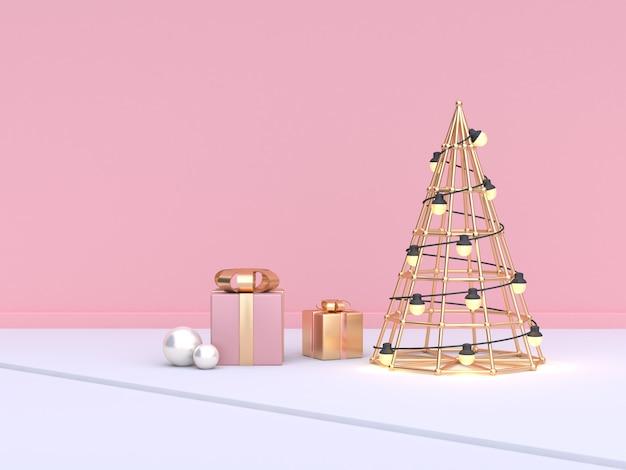 Kegel abstract kerstboom roze muur cadeau vak set 3d-rendering