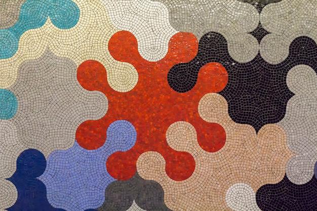 Keramisch mozaïek in puzzelvormen