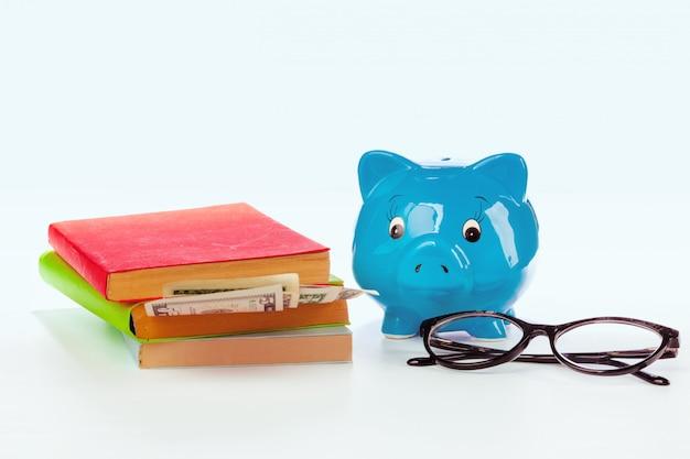 Keramisch spaarvarken met boeken en geld