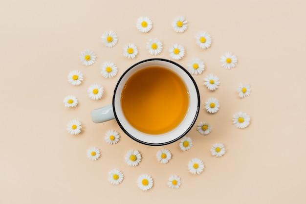 Keramische mok kamillethee met bloemen op een beige achtergrond, bovenaanzicht met kopieerruimte voor uw ontwerp. kruidengeneeskunde concept. sjabloon of banner. plat leggen