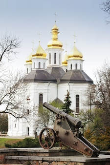 Kerk met gouden koepels in het park