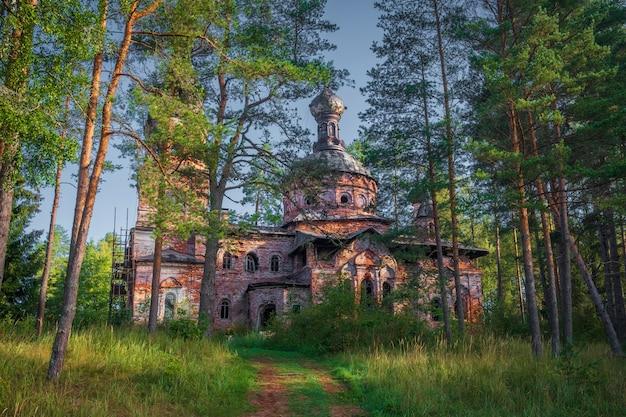 Kerk van de voorbede van de allerheiligste theotokos in het dorp hotnezha, volosovsky-district van de regio leningrad in rusland