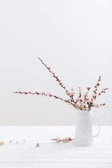 Kersenbloemen in vaas op witte achtergrond