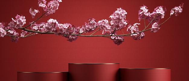 Kersenbloesem en podium met rode achtergrond voor productpresentatie3d-renderingillustratie