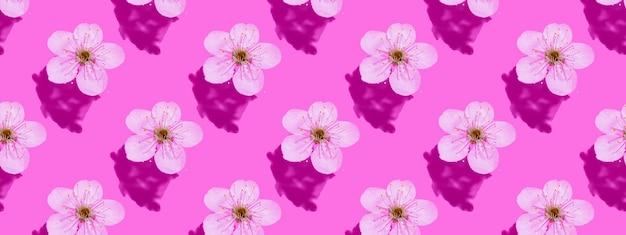 Kersenbloesem op roze water. concept, behang, stofontwerp. naadloze patroon. banner