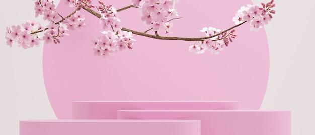 Kersenbloesems en geometrische roze podium op witte achtergrond voor productpresentatie 3d-rendering