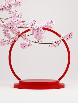 Kersenbloesems op puur witte achtergrond geometrisch rood podium voor productpresentatie3d-rendering