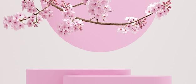 Kersenbloesems op puur witte achtergrondgeometrisch roze podium voor productpresentatie3d-rendering