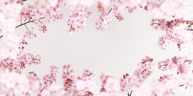 Kersenbloesems op zuivere witte achtergrond voor productpresentatie3d-renderingillustratie