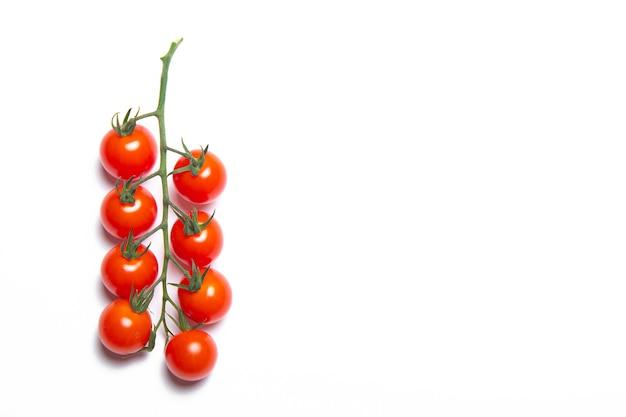 Kersentomaten tak geïsoleerd op een witte achtergrond. rode tomaat. tomaten op een tak. geïsoleerde achtergrond.