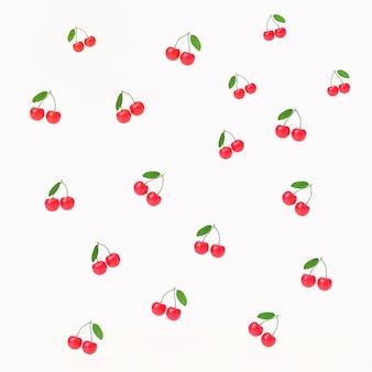 Kersenvruchten geeft 3d patroonillustratie met isolate op witte achtergrond terug.