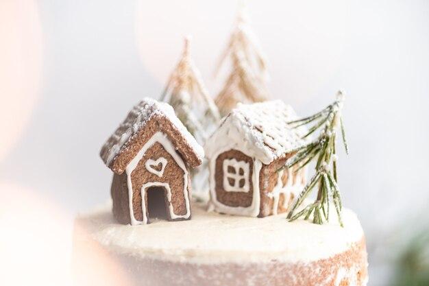 Kerst achtergrond ansichtkaart twee peperkoek huizen selectieve aandacht bokeh