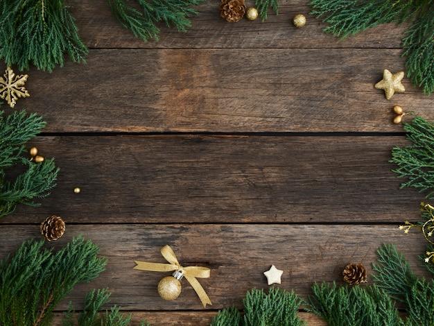 Kerst achtergrond en decor op houten