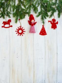Kerst achtergrond met decor en fir tree branch