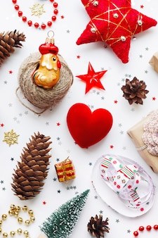 Kerst achtergrond met decoraties.