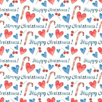 Kerst achtergrond met happy christmas belettering en met de hand getekende rode en blauwe harten