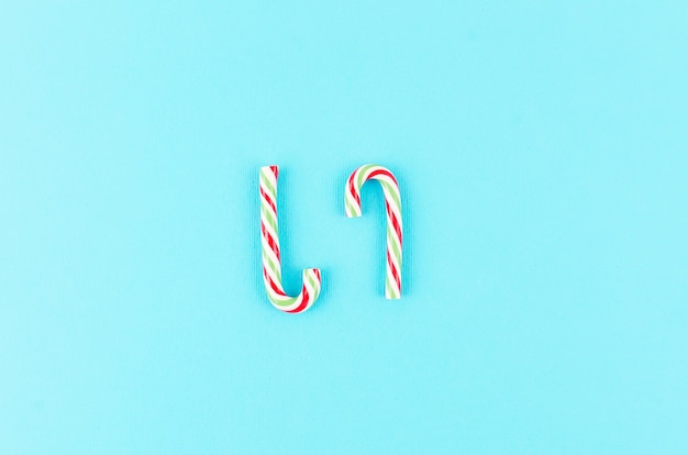 Kerst achtergrond. met karamelriet en marshmallow