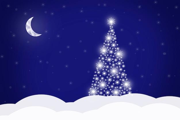 Kerst achtergrond met kerstboom en halve maan op een blauwe achtergrond, vectorillustratie.