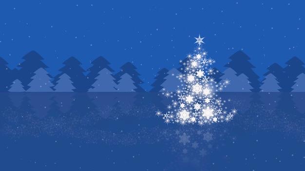Kerst achtergrond met kerstboom en op een blauwe achtergrond.