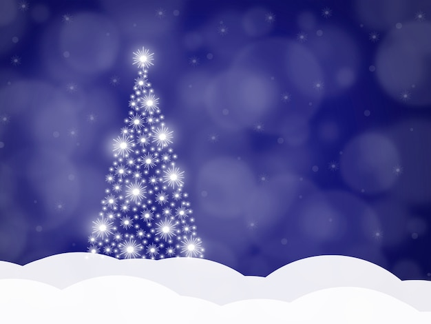Kerst achtergrond met kerstboom op een blauwe achtergrond, vectorillustratie.