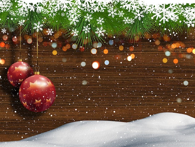 Kerst achtergrond met sneeuw hout en opknoping snuisterijen