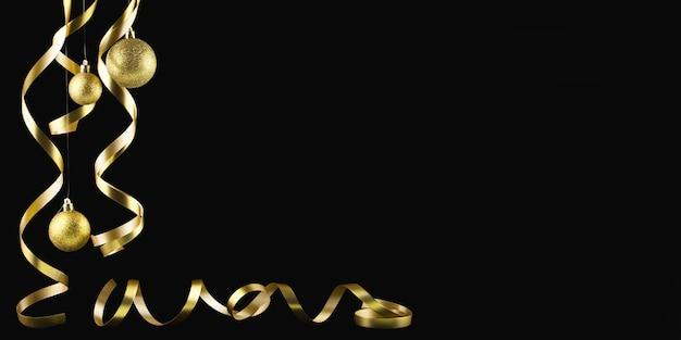 Kerst achtergrond, nieuw jaar. gouden kerstballen en streamers horizontaal op een zwarte achtergrond