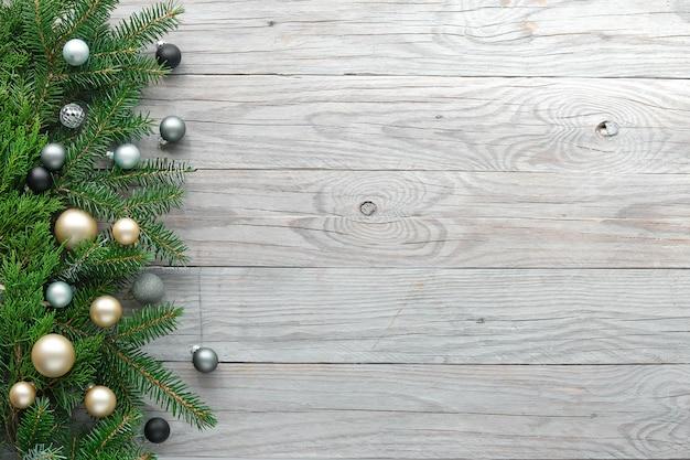 Kerst achtergrond, panoramisch bovenaanzicht, plat met rand d