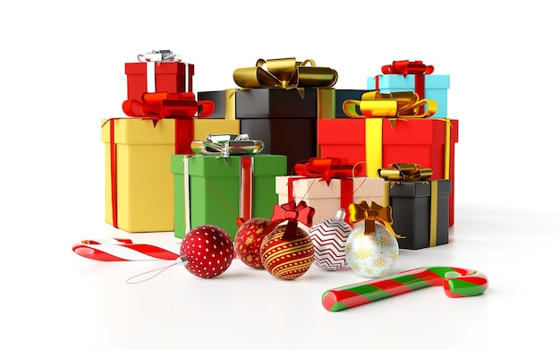 Kerst achtergrond van kerstcadeaus en decoratie 3d-rendering