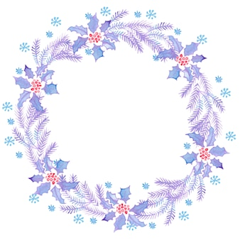 Kerst aquarel kransen voor decoratie