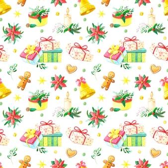 Kerst aquarel naadloze patroon.