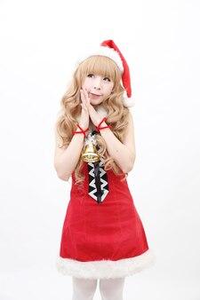Kerst aziatische vrouw portret met kerstcadeau