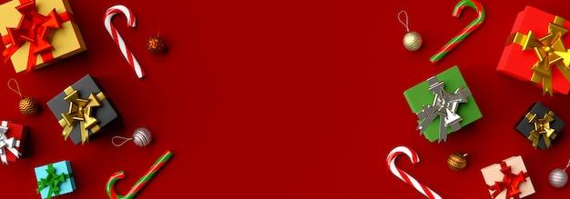 Kerst banner achtergrond van kerstcadeaus 3d-rendering