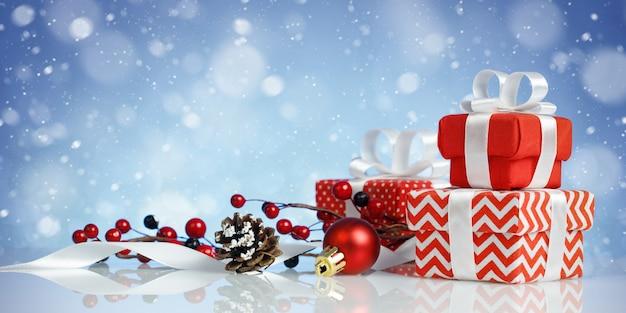Kerst banner met drie rode geschenkdozen en decoraties op blauwe achtergrond