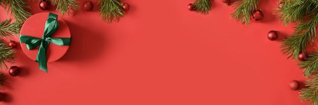 Kerst banner met rode cadeau