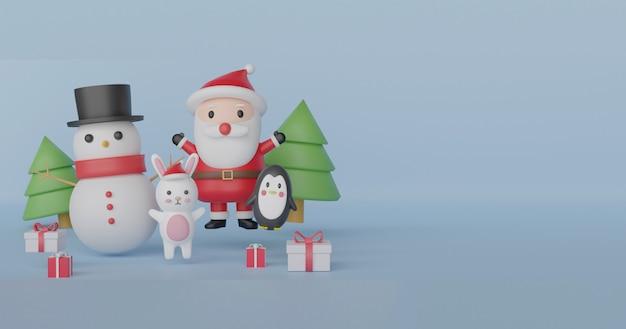 Kerst banner met schattige kerstman, sneeuwman, pinguïn en konijn.
