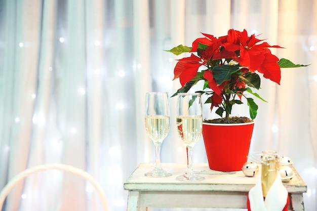 Kerst bloem poinsettia en champagne in glazen, binnen