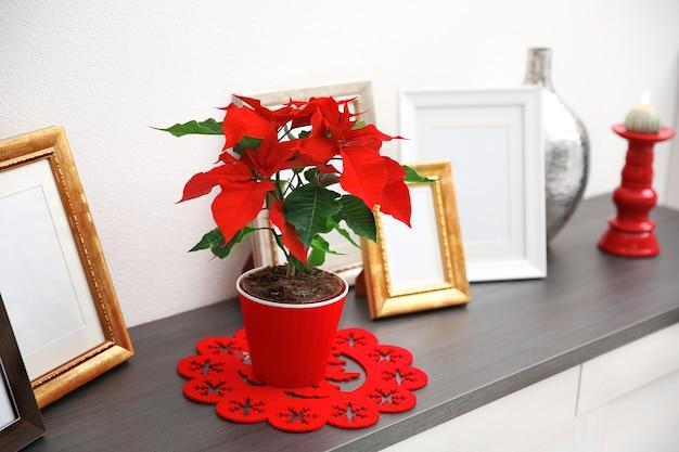Kerst bloem poinsettia en decoraties op laden met kerstversiering, op lichte achtergrond