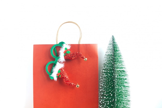 Kerst boodschappentas en feest accessoires