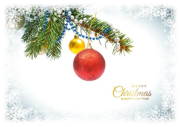 Kerst briefkaart. achtergrond met versieringen voor wenskaart, ruimte voor tekst