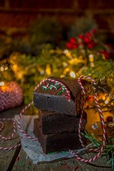 Kerst brownie cakestukken